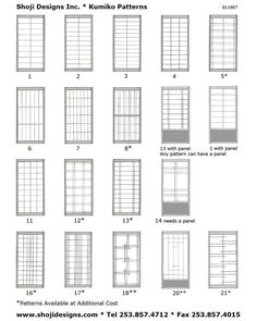 Shoji Designs Kumiko Style Sheet. I wish i had a closet styled like shoji...