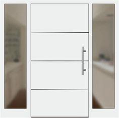 Aluminium Haustür Modell 6872-94 weiß mit Seitenteil links und rechts