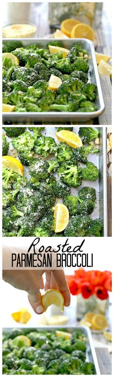 Roasted Parmesan Broccoli with Garlic and Lemon, HEAVEN! This is the BEST and EASIEST side dish on the internet! #cleaneating #cleaneats