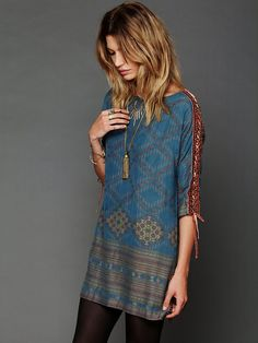 Boho tunic & tights for the cooler months. New Romantics Stole My Heart Dress at Free People.
