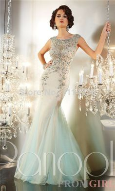 2014 style free shipping beautiful pale green applique modest prom dresses cap sleeve tulle bodice Mermaid prom dress. $166.00