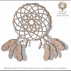 Detailed dream catcher template for laser cutting. Dream Catcher Vector, Hoop Dreams, Dreams And Nightmares, Dream Catchers, Mandala Design, Vector Pattern, Lovely Things, Laser Cutting, Mother Day Gifts