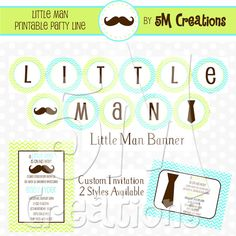 Chevron LITTLE MAN Party Package  Little Man Baby by 5Mcreations, $30