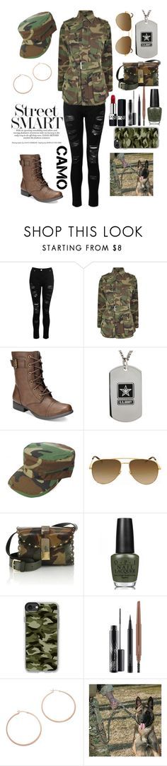 """""""Stylish Military"""" by tarajesse ❤ liked on Polyvore featuring Dorothy Perkins, Yves Saint Laurent, American Rag Cie, Furla, OPI, Casetify, MAC Cosmetics, Jennifer Zeuner and Christian Dior"""