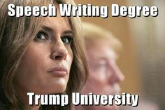 "Lol! || Even today, I feel a bit sad for what somebody obvious did to her regarding the plagiarized speech from Michelle Obama. I just chalked it up to being, ""tRumped."" This is what can happen when surrounded by liars, cheaters & grifters like the tRump family. Melania has Free Will & Made her bed..."