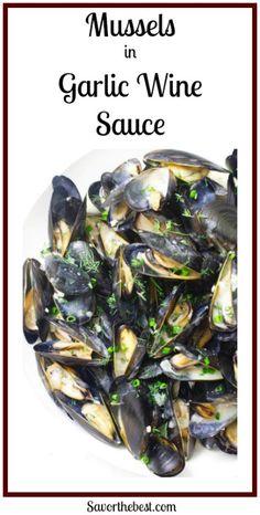 Mussels in Garlic Wine Sauce - Seafood Recipes - Essen Rezepte Garlic Mussels, Steamed Mussels, Grilled Mussels, Baked Mussels, Fish Recipes, Seafood Recipes, Cooking Recipes, Seafood Dinner, Wine Tasting