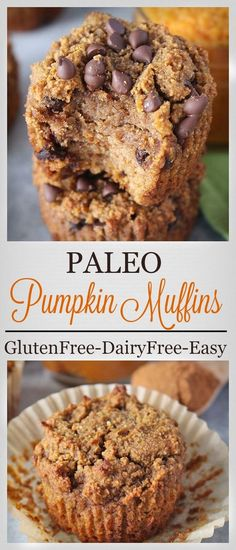 Paleo Pumpkin Muffins- easy healthy and delicious! Gluten free dairy free and refined sugar free.
