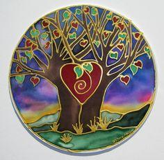 "The "" Tree of Love"", mandala art,Tree of life art, spiritual art, meditation art, silk art MADE TO ORDER via Etsy"