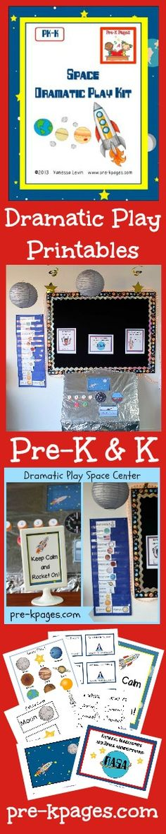 Space theme dramatic play center props for preschool and kindergarten via www.pre-kpages.com