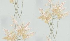 Barrington (NCW4067-04) - Nina Campbell Wallpapers - A scattering of colourful stylised blossom. Showing in Pale blue - other colour ways available. Please request a sample for true colour match.