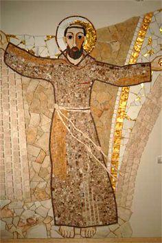St Francis - Centro Aletti - Feast Of St Francis, Francis Of Assisi, St Clare's, Mosaic Portrait, Heart Of Jesus, Patron Saints, Sacred Heart, San Francisco, Religious Art