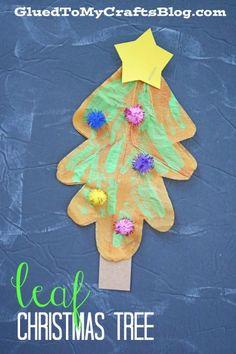 Leaf Christmas Trees - Kid Craft Idea