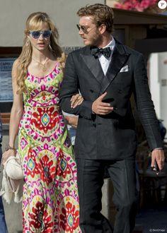 Pierre Casiraghi et sa femme Beatrice Borromeo au mariage de Giovanna Battaglia et Oscar Engelbert à Capri, Italie, le 10 juin 2016.