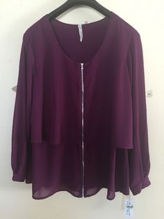 NWT FREESHIPPING NY Collection Dark Purple Sheer Zip Up Blouse Women's Plus 2X…