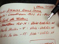 Burnt Sienna zum Vergleichen in 3 Federbreiten: -) M von Montblanc -) F von Parker -) EF von Sailor  Diese Premiumtinte findet ihr im Shop auf www.nota-nobilis.at  #diamine #sailorpen #parker #montblanc #leuchtturm1917 #mb #pen #Füller #füllfeder #ink #tinte #premiumtinte #luxury #legend #notebook #fountainpen #fp