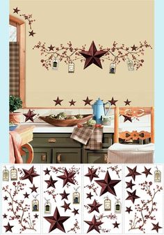 Country Stars and Berries Wall Stickers - Wall Sticker, Mural, & Decal Designs at Wall Sticker Outlet Rustic Primitive Decor, Country Primitive, Rustic Decor, Country Farmhouse, Big Wall Stickers, Wall Decals, Kitchen Stickers, Country Star Decor, Christmas Wood Crafts