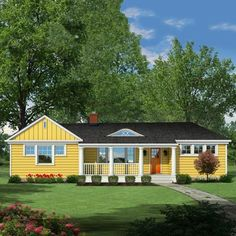 A street-facing gable, a front porch, a faux cedar- shake roof, and a yellow-and-white paint scheme—give a cookie-cutter ranch more detail and distinction | Illustration: Howard Digital | thisoldhouse.com