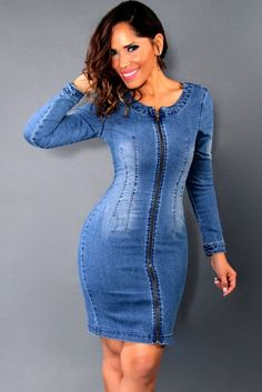 a2efcb7e753 New Women Mini Denim Dress Crossed Strap Backless Zipper O Neck Bodycon  Slim Casual Dress Blue