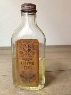 Vintage Glass Olive Oil Bottle - Jar - Rustic - Kitchen - Decor - Label - Wedding