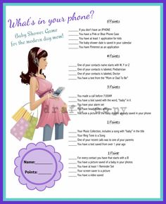 Baby Shower Game: Whats in your phone by 31Flavorsofdesign on Etsy, $4.50 or you can make your own.