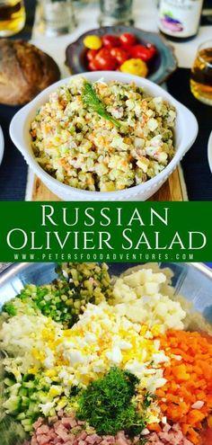 Russian Salad Recipe, Russian Potato Salad, Chicken Salad Recipes, Healthy Salad Recipes, Healthy Chicken, Easy Salads, Summer Salads, Side Dish Recipes, Easy Dinner Recipes