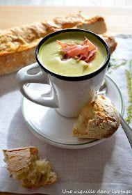 une aiguille dans l' potage: Velouté de brocoli au Boursin ail et fines herbes, chips de bacon