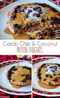 Carob Chip Coconut Protein Pancakes (single serve/high protein/no sugar added)