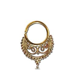 Beautiful Brass Septum For Pierced Nose - Body Jewelry - Septum Jewelry - Indian Nose Ring - Ethnic Septum - Septum Piercing - Nose Jewelry This gorgeous traditional septum is made of brass and decorated with small brass balls.   For pierced nose. Can be worn on the ear as well.  Nickel Free.  The bar is 1mm. 18 Gauge Length: 20mm Width: 15mm $17.5