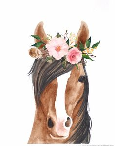 Watercolor Horse, Watercolor Artwork, Watercolor Animals, Crown Painting, Baby Animal Drawings, Horse Flowers, Animal Wallpaper, Horse Art, Animal Paintings