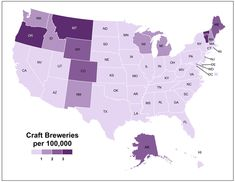 Craft breweries per 100,000 people. Pour one out to the industrious folks in Vermont, Montana, and Oregon!