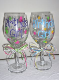 Personalized Birthday Wine Glasses, 50 and Fabulous, 40 and Fabulous, 21st Birthday, Bride to Be. $10.00, via Etsy.