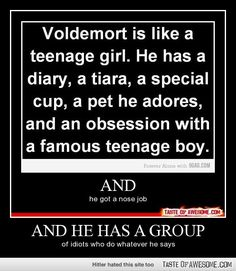 So basically Volemort is like a popular, stupid teenage girl.