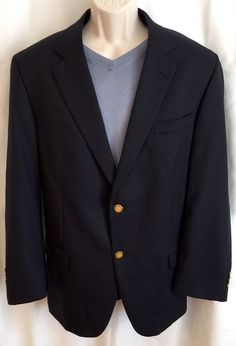 JOSEPH & FEISS Blazer 44R Dark Navy Blue w/ 2 Gold Buttons 100% Wool Sport Coat  | eBay