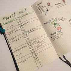 march monthly view in my bullet journal