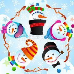Cute Cheerful Snowman Winter Christmas Vector Illustration Royalty Free Stock Vector Art Illustration