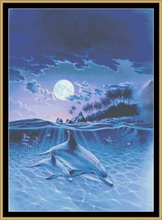 Mother And Baby Dolphin [MGL-36] - $16.00 : Mystic Stitch Inc, The fine art of counted cross stitch patterns ***
