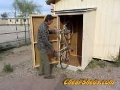 Compact Vertical Bike Storage Shed Plans Video - Pinpon Woodworking Guide, Custom Woodworking, Woodworking Projects Plans, Woodworking Furniture, Furniture Plans, Kids Furniture, Bike Storage Shed Plans, Garage Storage, Storage Sheds