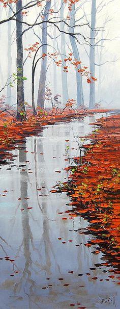 Autumn Stream Painting by Graham Gercken