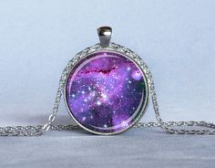 PERIWINKLE NEBULA PENDANT Periwinkle Lavender Blue Astronomy Necklace Star Pendant Science Jewelry. $14.25, via Etsy.