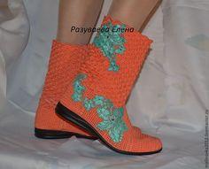 """Купить Сапожки """"Коралловые"""" - коралловый, вязаные сапожки, вязаная обувь, летние сапоги, летняя обувь"""