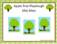 FREE Apple Tree Playdough Math Mats for Preschool and Kindergarten
