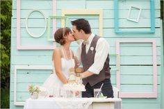 Wedding photographed by Jana Marie Photography and produced by. This Spring wedding featured light blue rustic details. Diy Wedding Reception, Cute Wedding Ideas, Farm Wedding, Wedding Gowns, Wedding Inspiration, Wedding Bells, Wedding Stuff, Empty Picture Frames, Wedding Picture Frames