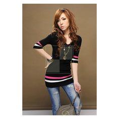 FASHION schwarze Tunika mit farbigen Streifen Modell: Lexi, 18,90 &eu