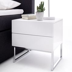 Strada Contemporary Bedside Cabinet In White High Gloss With Chrome Legs With 2 Drawers, offers a modern style that will suit in any style of bedroom. This Bedside Table is crafted from White high . Modern Bedside Table, Modern Bedroom Furniture, White Furniture, Contemporary Bedroom, White Gloss Bedside Table, White Bedside Cabinets, Bedside Drawers, Bedroom Cabinets, Nightstand
