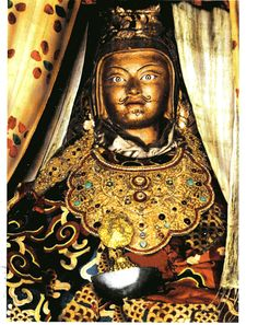 "The famous Padmasambhava statue that is called ""Looks Like Me"" in Tibet Buddha Kunst, Buddha Art, Tibetan Art, Tibetan Buddhism, Buddhist Wisdom, Vajrayana Buddhism, Spiritual Teachers, Tantra, Tibet"