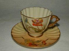 1884 Antique Royal Worcester Hand Painted Demitasse Cup & Saucer Set Free Ship