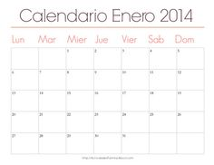 Calendarios mensuales 2014 para imprimir> Enero #Calendario #Imprimir #Imprimible #Printable