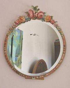 Pretty Vintage 1930's Barbola Mirror