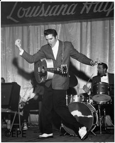 """The Louisiana Hayride, 3-21-56.. My Mom and Dad and his two sisters, used to travel and sing together. My dad said that they played the Louisiana Hayride together with Elvis a few times, and his remark was """"He was a nice fella, I just didn't like his music. If it's not Bluegrass, I don't like it."""" Lol.  I bet those 3 ladies LOVED it and Elvis!!!"""