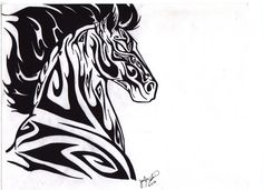 Tribal Horse by darkmoonwolf21. 2014 is year of the horse.